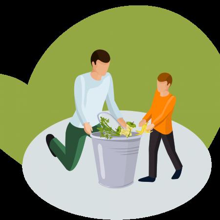 Un hombre y un niño en pleno proceso de compostaje residencial